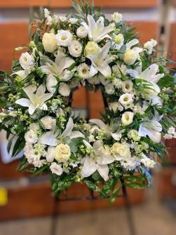 Corona de clavel blanco