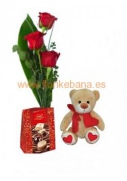 Ramo 3 rosas com peluche y bombones