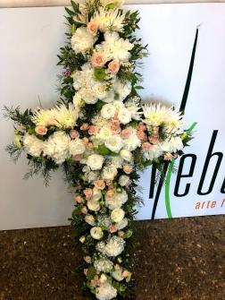Cruz de flor fresca variada funeral