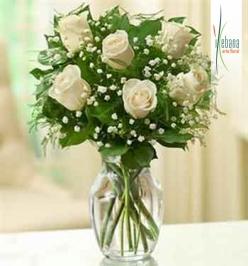 Ramo 6 rosas blancas frescas funeral
