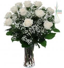 Ramo 12 rosas blancas funeral
