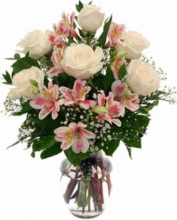 Ramo rosas blancas y astromelias funeral