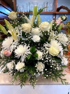 Centro rosas flor fresca funeral