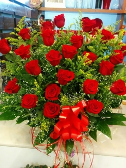 Centro de rosas rojas funeral