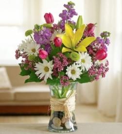Ramo flor lilium, margaritas variadas