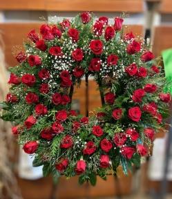 Corona de rosas rojas funeral