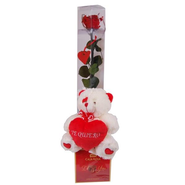Centro corazón dos rosas preservadas