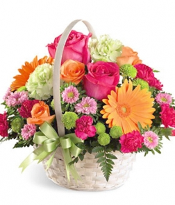 Cesta flor fresca variada de temporada