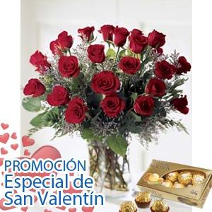 Ramo 24 rosas rojas con bombones